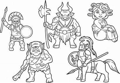 Centaur Cartoon Mythology Greek Coloring Pages Vector