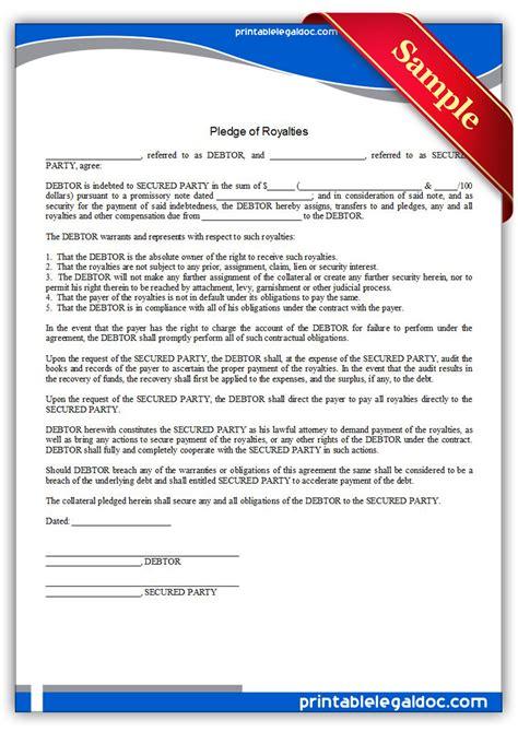 printable pledge  royalties form generic