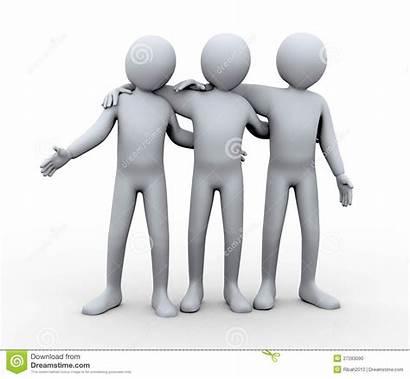 Friendly Three 3d Illustration Clipart Human Friends
