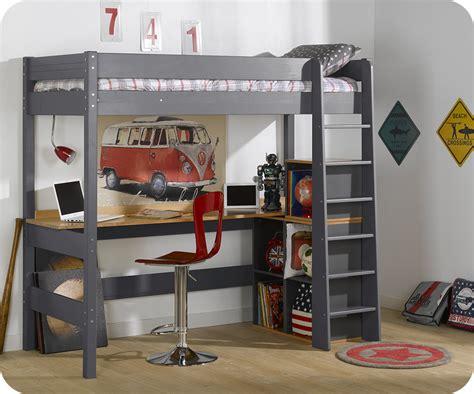 lit mezzanine clay gris anthracite avec bureau