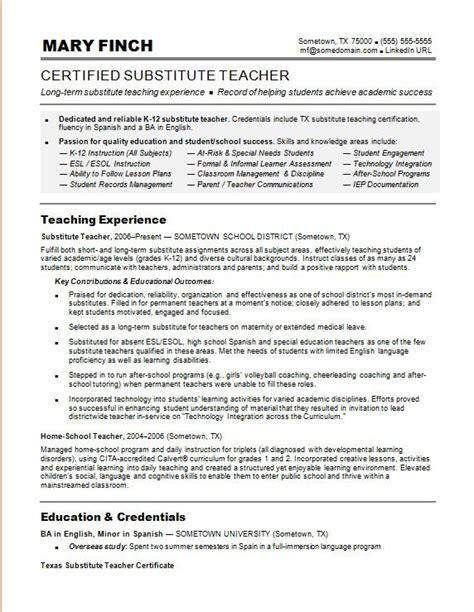 substitute teacher resume sample monstercom