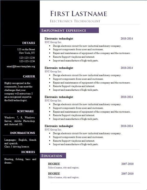 Libreoffice Resume Template by Libre Office Resume Template Resume Exle