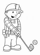 Builder Bob Coloring Golf Cart Mini Printable Getcolorings Bag sketch template