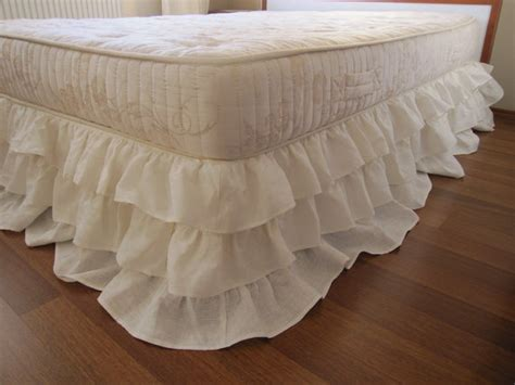 shabby chic dust ruffle queen or king linen 3 tier ruffle bed skirt dust ruffle