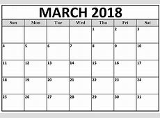 Free 10++ Blank March 2018 Calendar Printable Template
