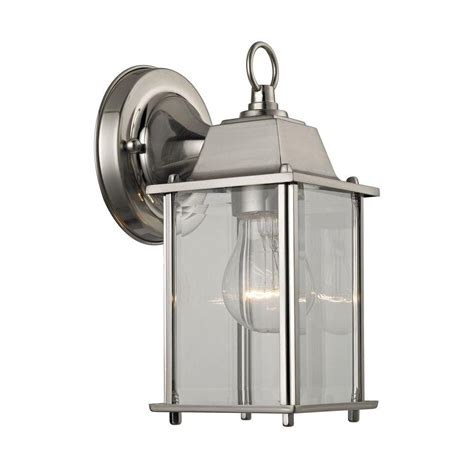 1 light brushed nickel outdoor wall sconce tn 60289 the