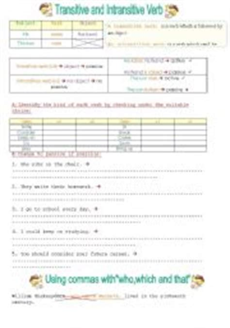 English Worksheets Transitive And Intransitive Verbs + Adding Commas To Relative Clauses