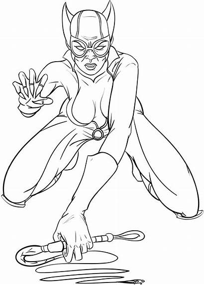 Coloring Catwoman Pages Printable Superheroes Dc Comics