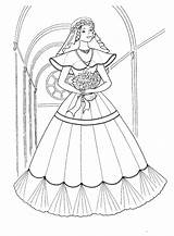 Coloring Dress Long Brides Pages sketch template