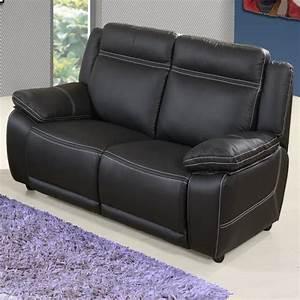 Canapé Fixe 2 Places : canap 2 places fixe en cuir angie achat vente canap sofa divan cdiscount ~ Teatrodelosmanantiales.com Idées de Décoration
