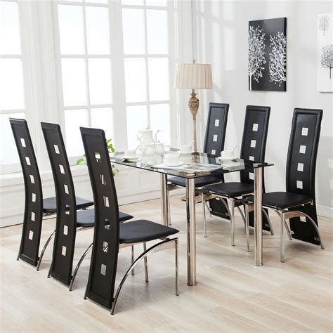 piece dining table set   chairs black glass metal