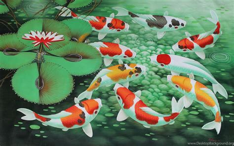 Animated Koi Fish Wallpaper - koi fish painting wallpaper desktop background