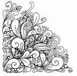 Coloring Corner Mandala Difficult Desine Again sketch template