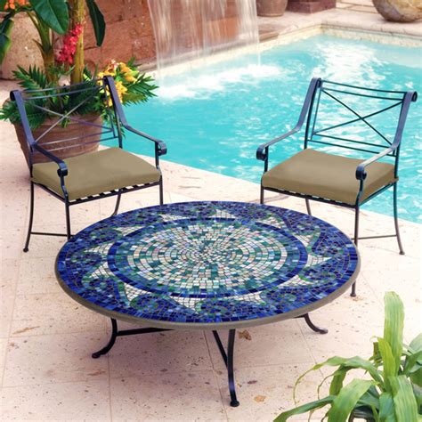 iron and mosaic coffee table mediterranean outdoor