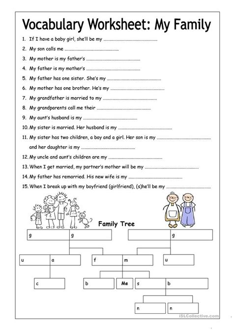 esl family tree worksheets