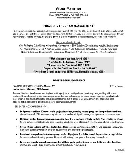 Pmp Resume Objectives by Projectmanager Resume Sle Exle