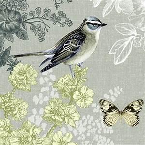 Papier Peint Papillon Oiseau : 4 serviettes en papier d coupage collage 33 cm oiseau ~ Zukunftsfamilie.com Idées de Décoration