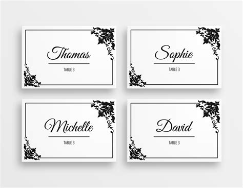 free printable christmas table place cards template printable black white elegant wedding place cards