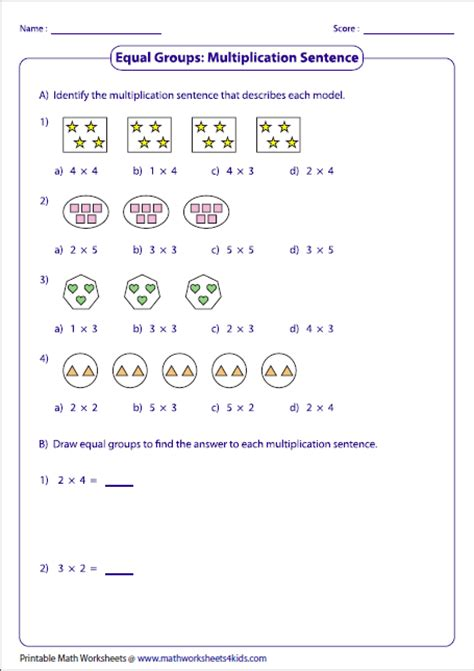 division worksheets equal groups multiplication models worksheets