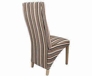 Striped Fabric Dining Chairs - Tenterden Rustic Brown
