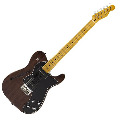 fender modern player telecaster thinline deluxe black transparent at gear4music