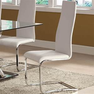 coaster, furniture, modern, dining, 100515wht, white, faux, leather, dining, chair, with, chrome, legs