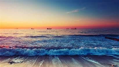 Beach Wallpapers Ocean Sunset Waves Scenic Horizon
