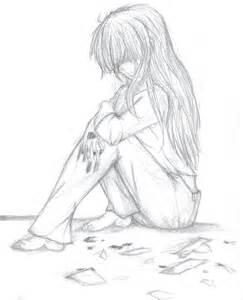 Sad Depressed Girl Drawing