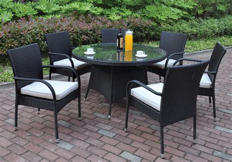 round table patio set outdoor 7 pcs outdoor patio dining set round glass table black pe