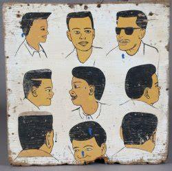 panneau enseigne de coiffeur en bois peint africain indon 233 sien et oc 233 anien anciens 224