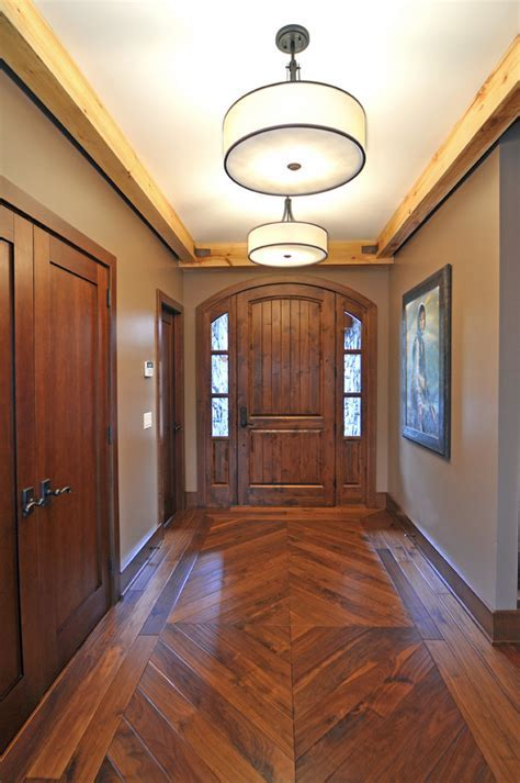 wood floor patterns Dining Room Eclectic with Craftsman