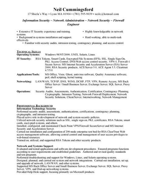 resume format resume sles information security