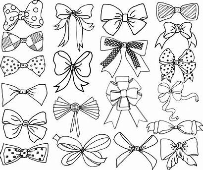 Bow Bows Clip Clipart Vector Doodle Tie