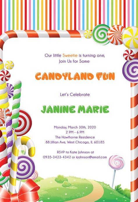 wonderful candyland invitation templates