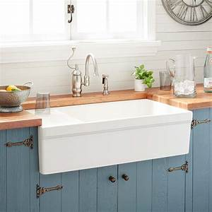 36, U0026quot, Gallo, Fireclay, Farmhouse, Sink, With, Drainboard, -, Biscuit