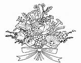 Coloring Flowers Pages Bouquet Flower Bunch Drawing Bouquets Printable Someone Popular sketch template