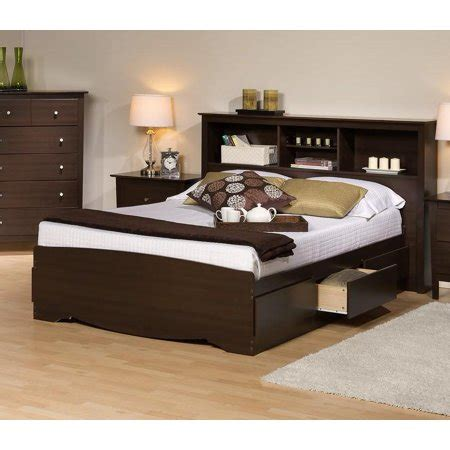 Espresso Headboard King by Platform Storage Bed W Bookcase Headboard Bed Size King