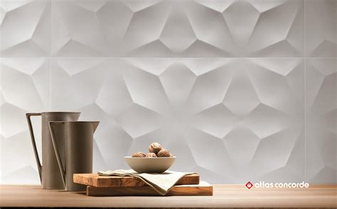 3d wall white ceramic tiles from atlas concorde