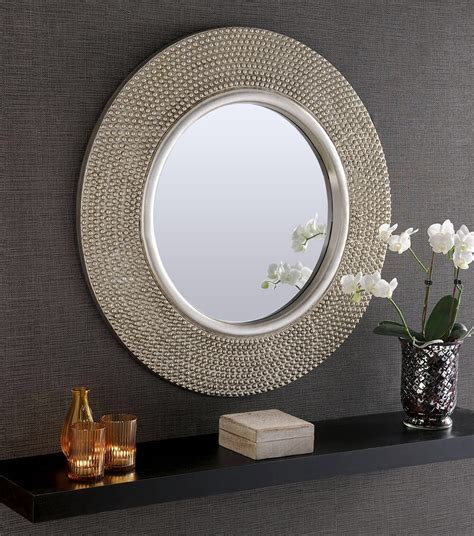 rome large  silver stud framed wall mirror