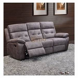 canape 32 places relax milord tissu gris haut de gamme With canapé relax tissu 2 places