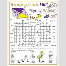 Spring Vocabulary (synonyms) Crossword Puzzle By Reading Club Fun