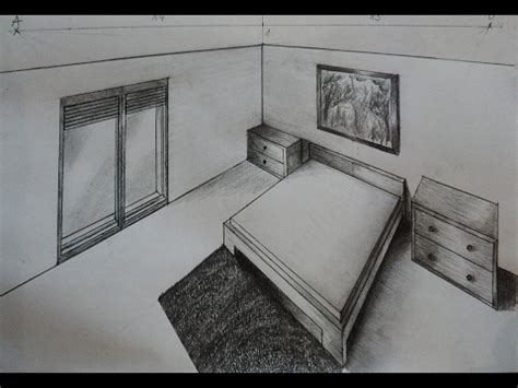 How To Draw Bedroom With Nightstand  Two Point