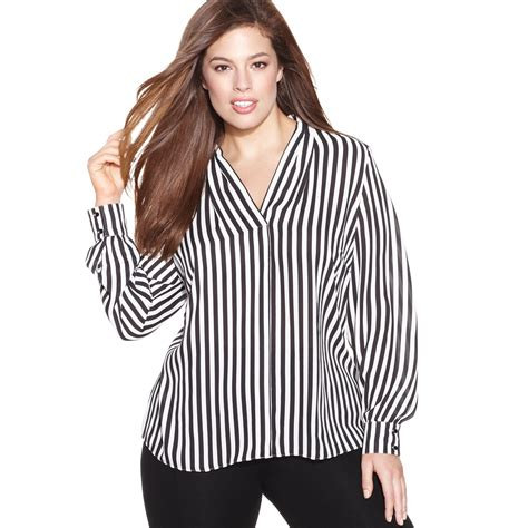 looking blouse inc international concepts plus size longsleeve striped