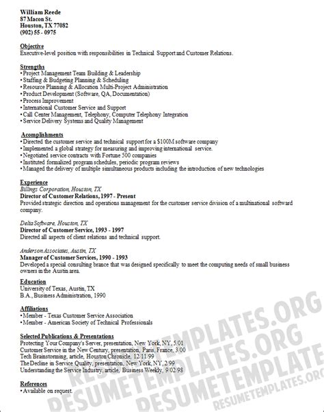 Tech Support Resume Sles by Technical Support Resume Template