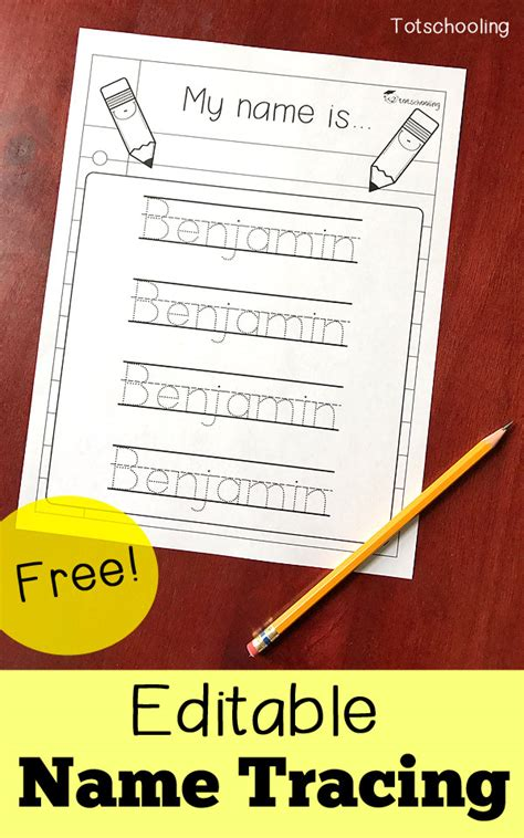 editable name tracing sheet totschooling toddler 411 | Name Tracing