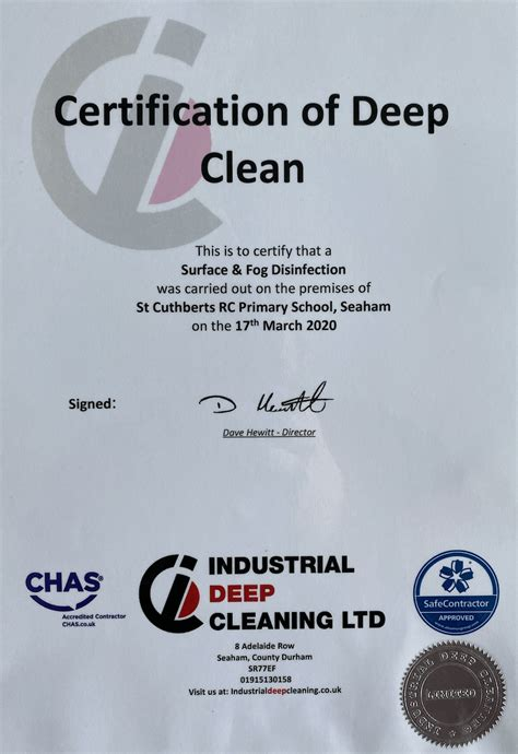 deep clean certification st cuthberts primary school
