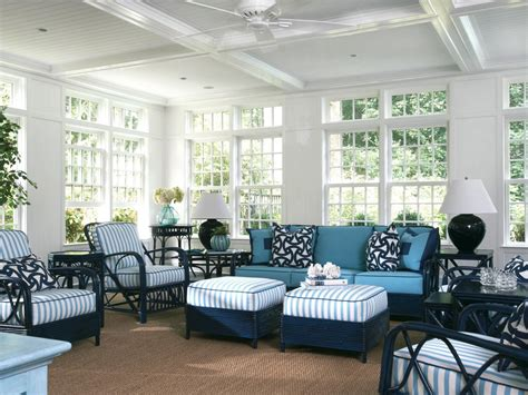 Create Blue White Sunroom by Sunroom With Blue And White Wicker Furniture Hgtv