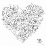 Heart Coloring Colouring Leaves Crown Jewels Jewelry Books sketch template
