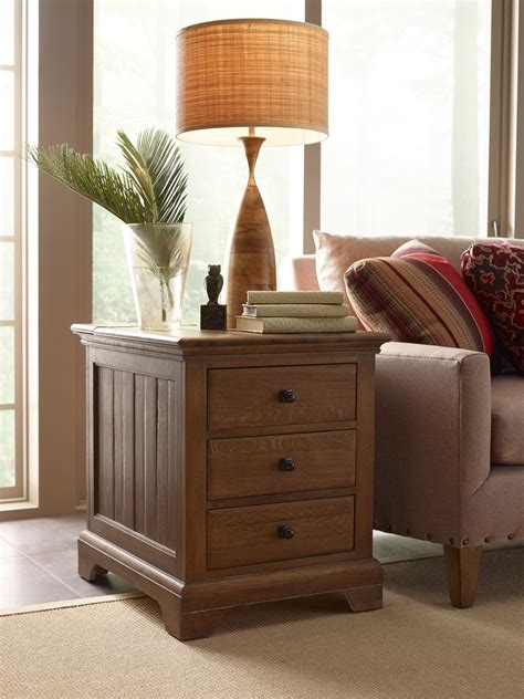 transitional chairside table with electrical outlet and