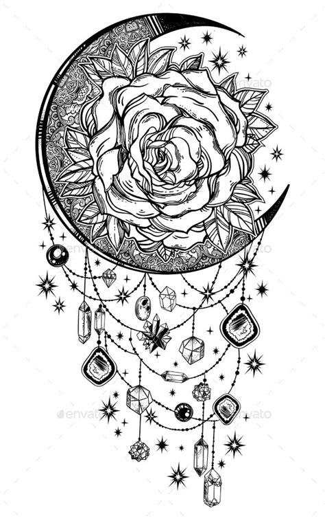 Vintage floral hand drawn moon rose composition with beads and crystal gemstones. Victorian